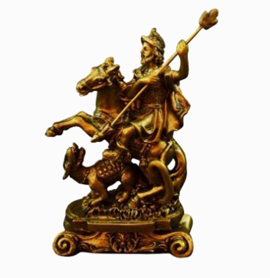 São Jorge Guerreiro Imagem Santo Estátua Dourada Resina 11cm  - Arrivo Mobile