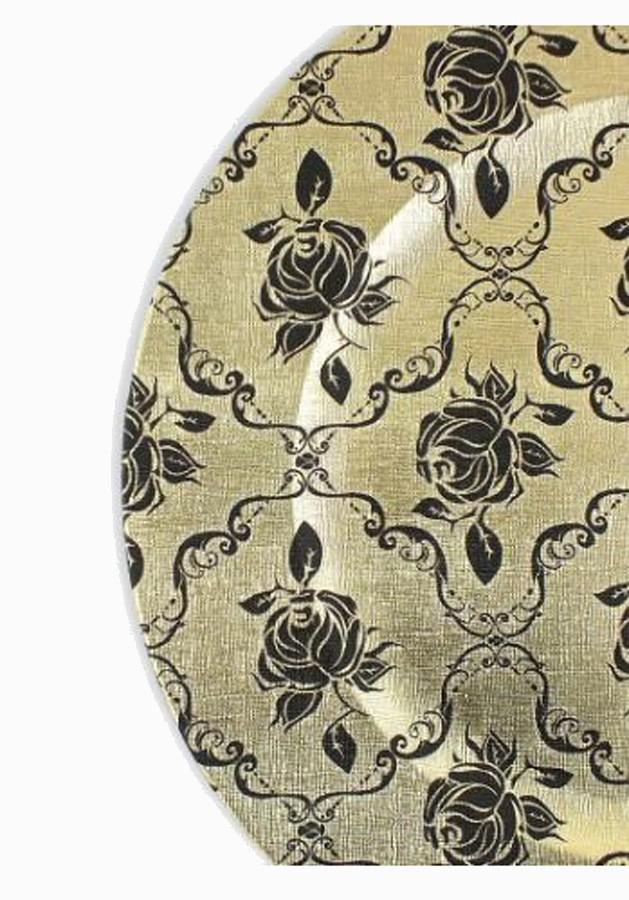 Sousplat Dourado com Flores Pretas 33cm - 426  - Arrivo Mobile