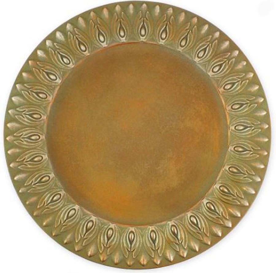 Sousplat Pompeia redondo na cor marrom  - Arrivo Mobile