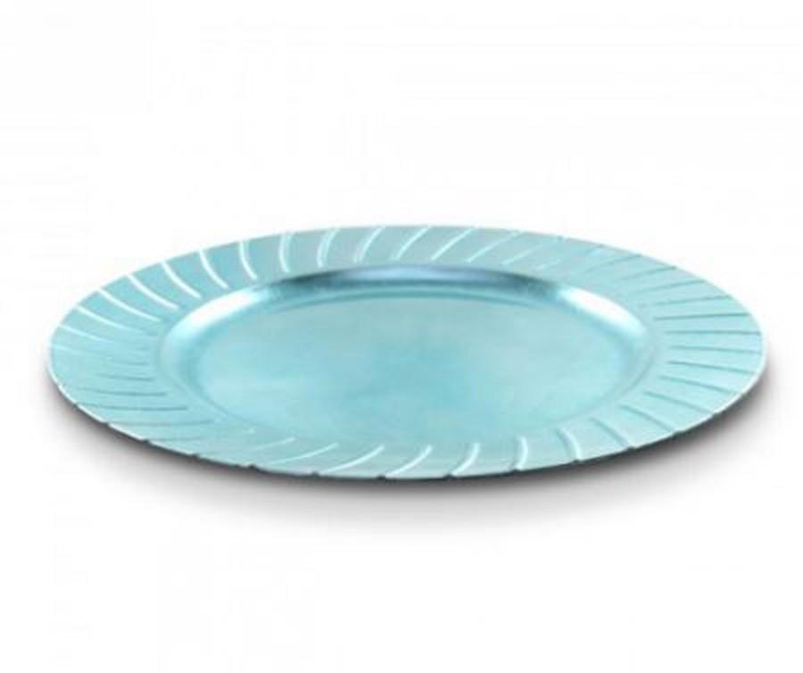 Sousplat Redondo Azul Detalhes De Frisos 33cm - 338  - Arrivo Mobile