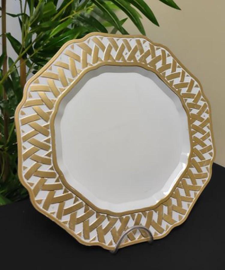 Sousplat Redondo Branco Detalhe Dourado 33cm - 420  - Arrivo Mobile