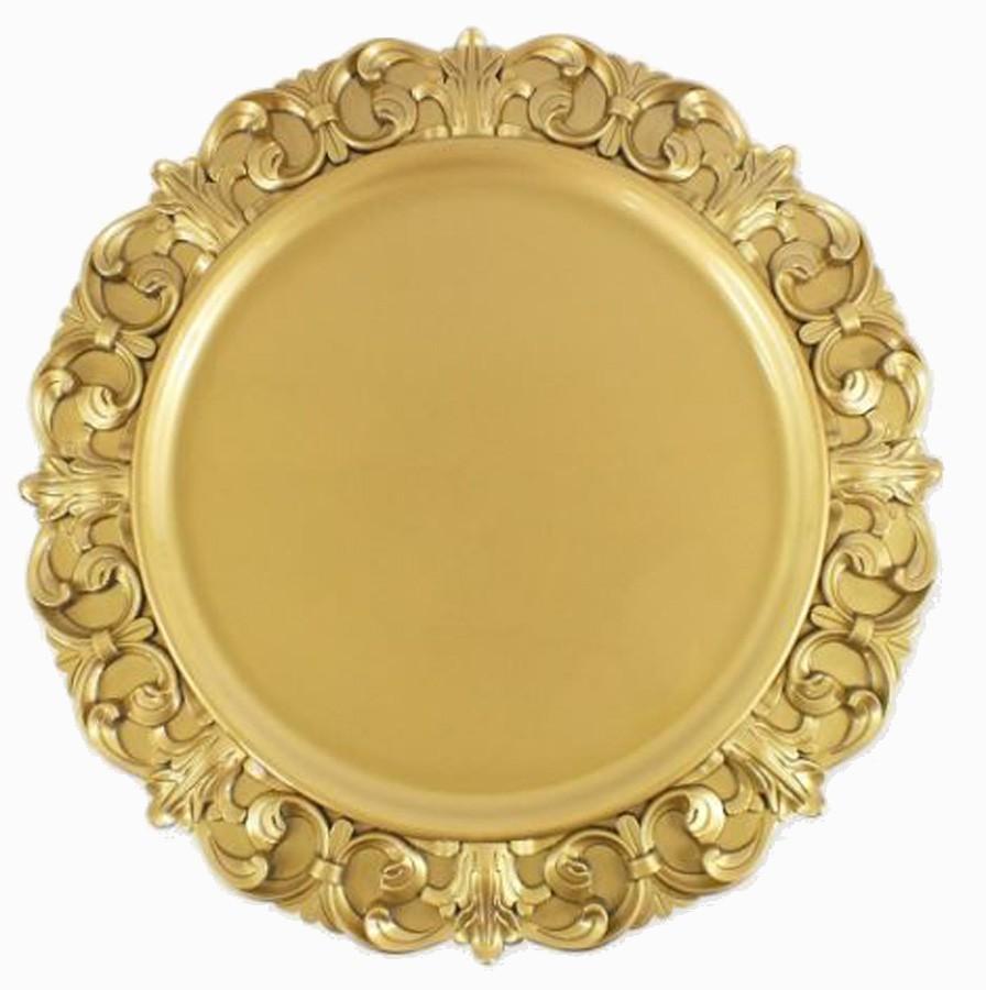 Sousplat Redondo Dourado 35cm - 430  - Arrivo Mobile