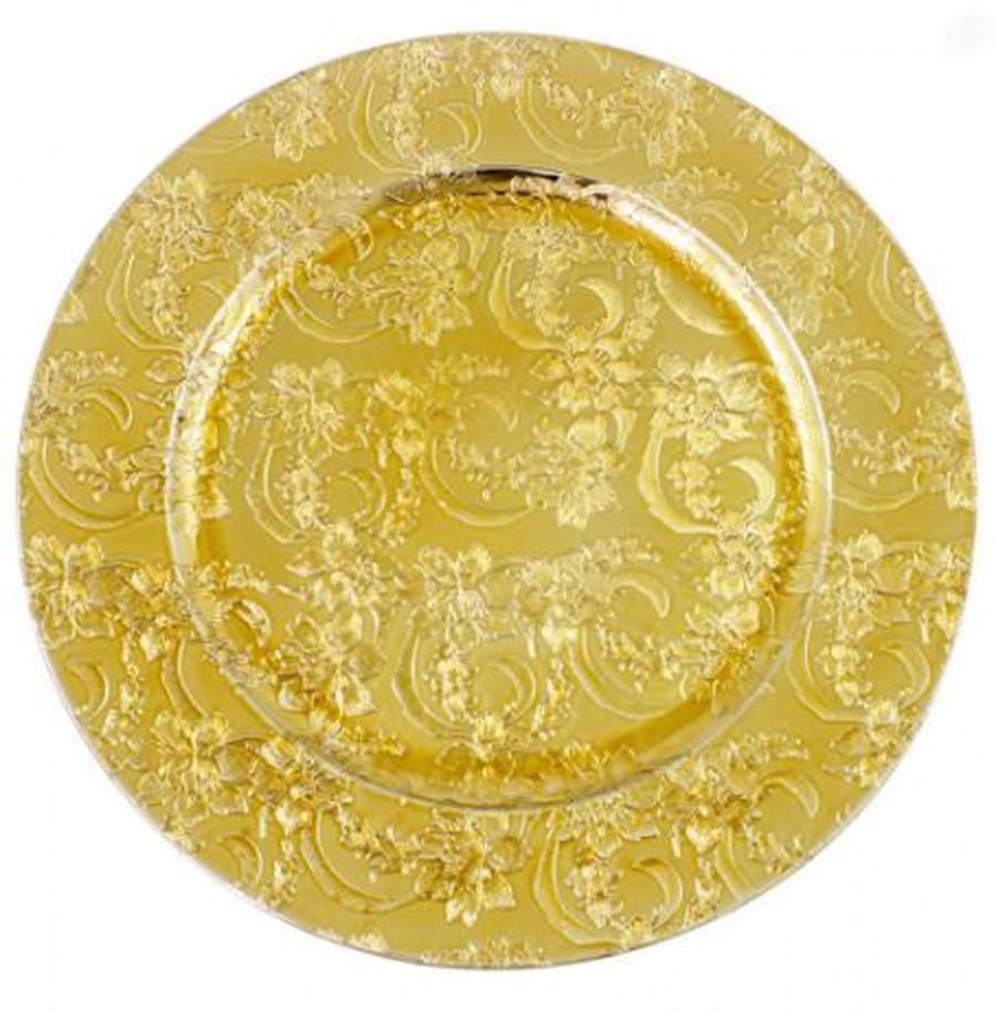 Sousplat Redondo Dourado Com Flores 33cm - 320  - Arrivo Mobile