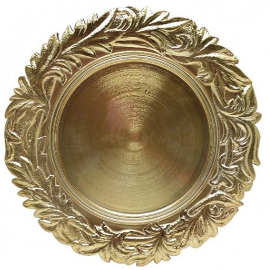 Sousplat Redondo Mistico Dourado 33cm - 1165  - Arrivo Mobile