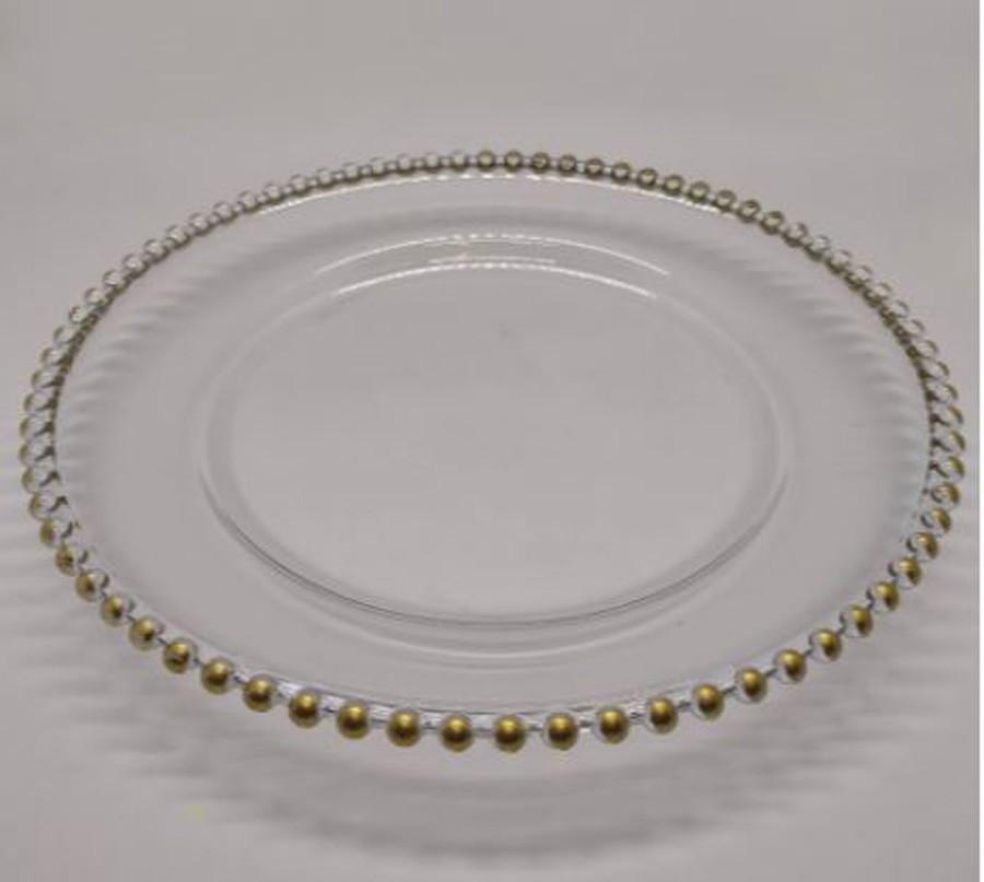 Sousplat Redondo Requinte Cristal com Dourado 32cm - 1164  - Arrivo Mobile