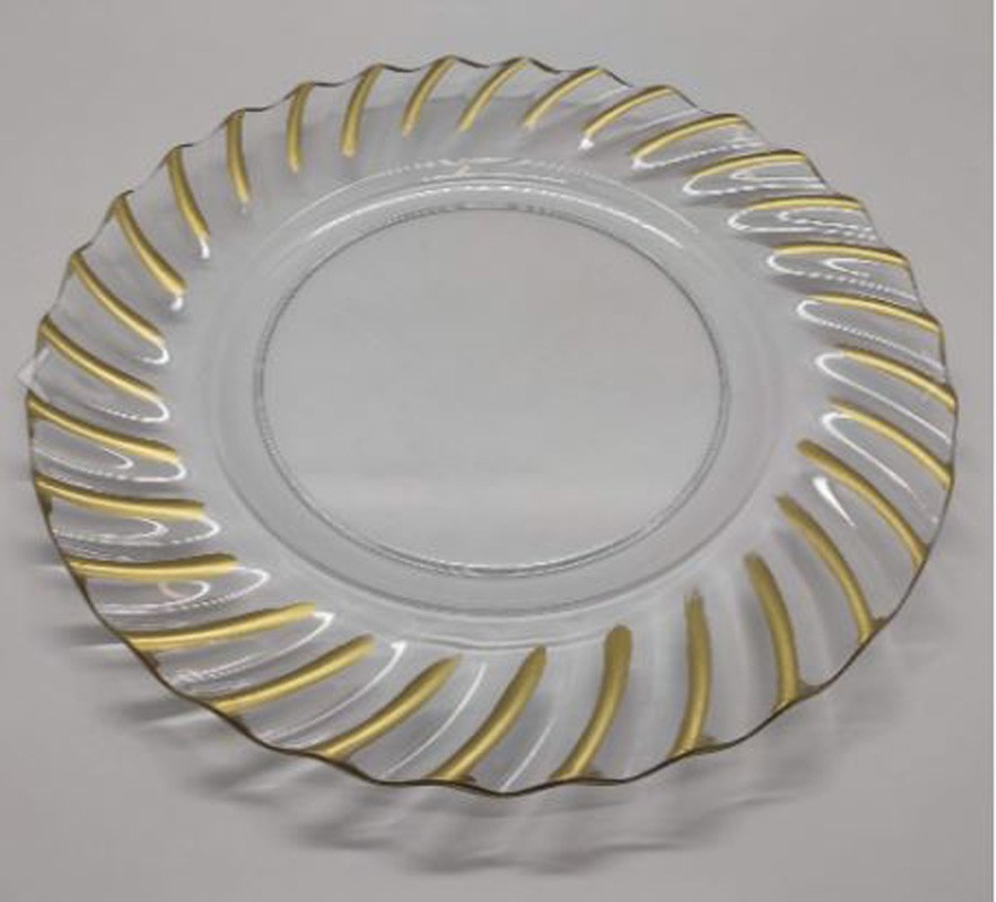 Sousplat Redondo Requinte Cristal Com Dourado 33cm - 1161  - Arrivo Mobile