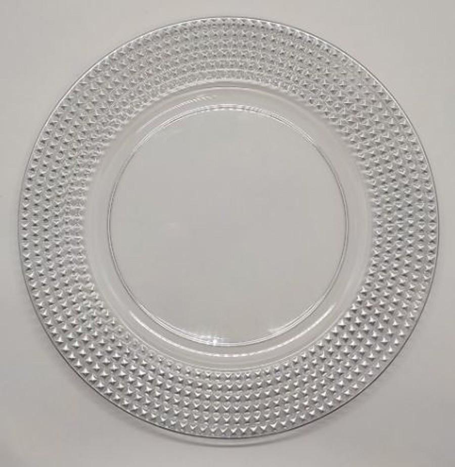 Sousplat Redondo Requinte Cristal Prata 33cm - 1176  - Arrivo Mobile
