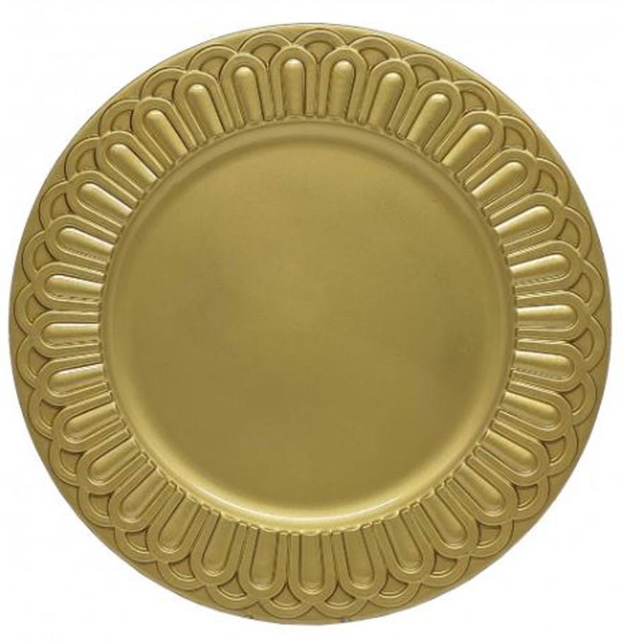 Sousplat Redondo Romano Dourado 36cm - 1160  - Arrivo Mobile