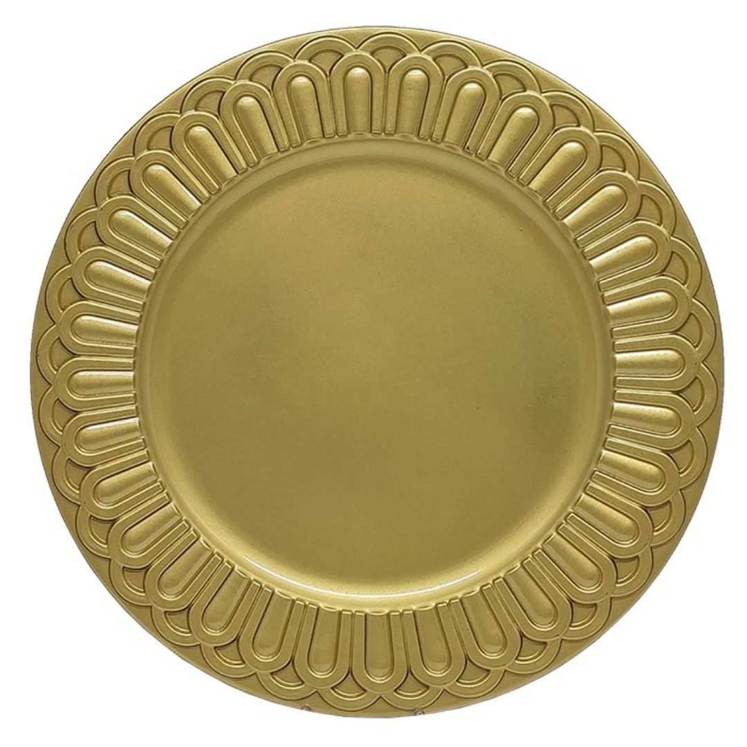 Sousplat Redondo Descanso de Prato Romano Dourado 36cm - 1160  - Arrivo Mobile