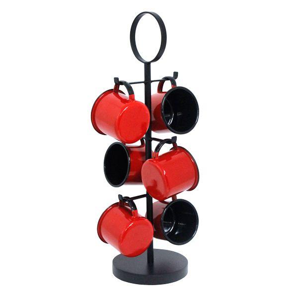 Suporte Com Seis Canecas Vermelhas 51x20x20cm  - Arrivo Mobile