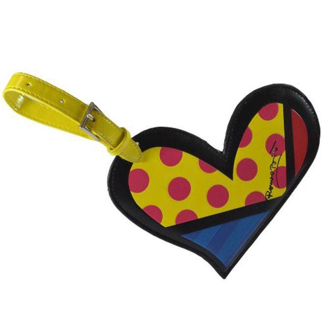 Tag Para Mala Romero Britto Heart Couro Ecológico - 23cm X 13cm  - Arrivo Mobile