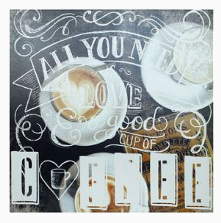 Tela Impressa All U Need Is Love Coffee Fullway 60x60x4cm  - Arrivo Mobile