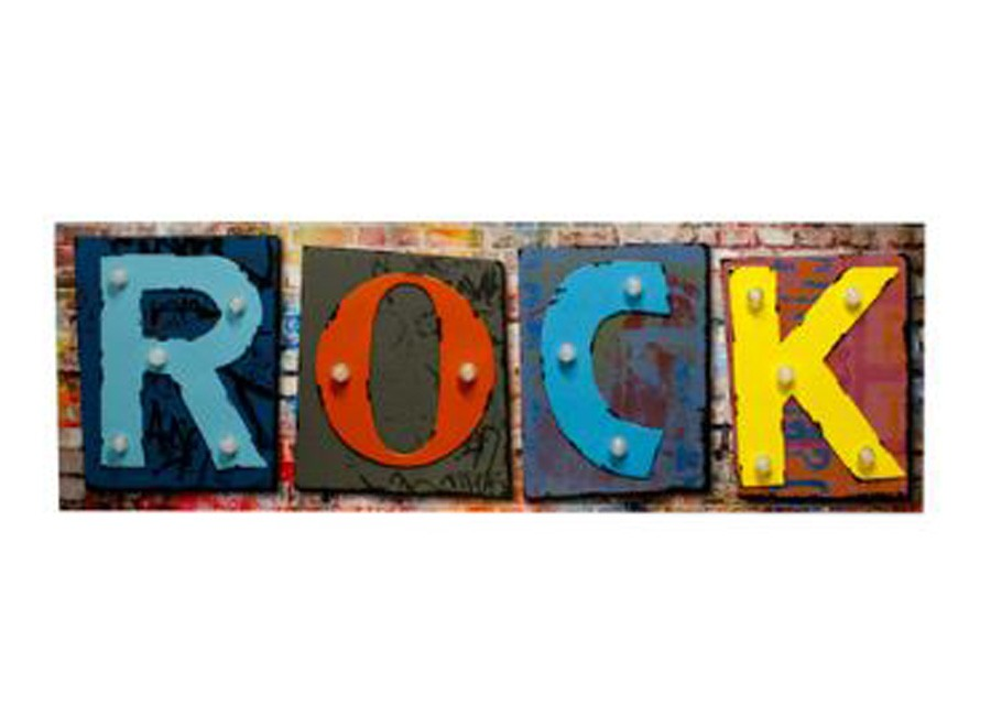Tela Impressa C Metal Led Rock 40x120x5,5cm  - Arrivo Mobile