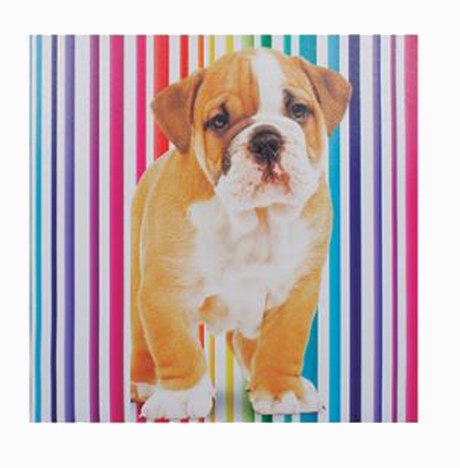 Tela Impressa Cachorro Fundo Listras Fullway 60x60x3cm  - Arrivo Mobile