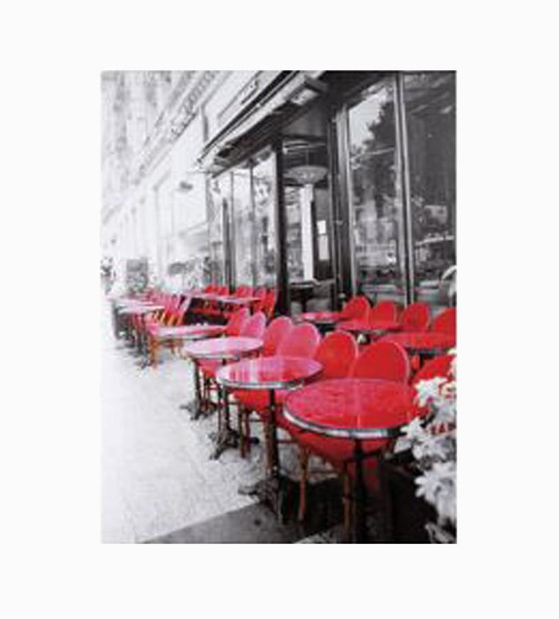 Tela Impressa Café Mesas Vermelhas  - Arrivo Mobile