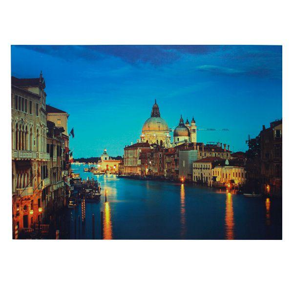 Tela Impressa Com Led Veneza Anoitecer Fullway 100x140x4cm  - Arrivo Mobile
