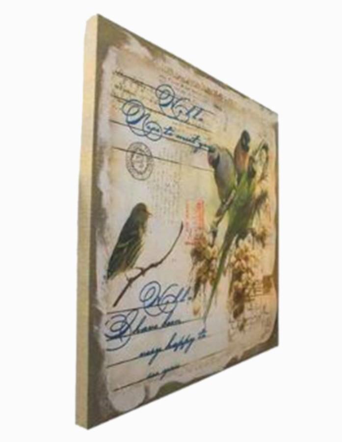 Tela Linho Pássaros Post 120x120x6cm  - Arrivo Mobile