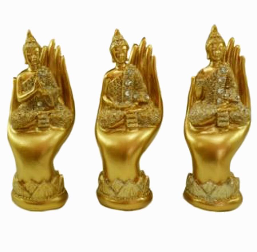 Escultura Enfeite Trio Budas C/ Mão Importado  - Arrivo Mobile