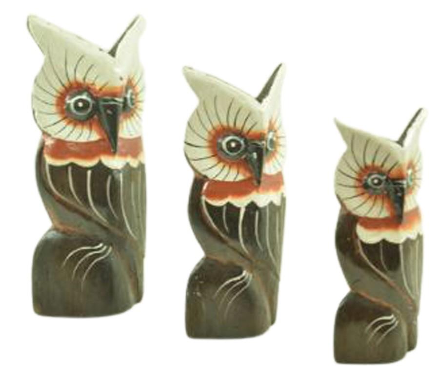 Escultura Enfeite Trio Corujas Mod E Madeira de Bali Imp  - Arrivo Mobile