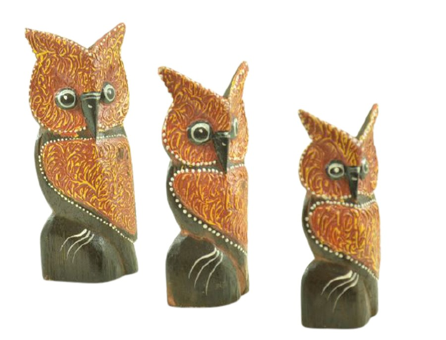 Escultura Enfeite Trio Corujas Mod F Madeira de Bali Imp  - Arrivo Mobile