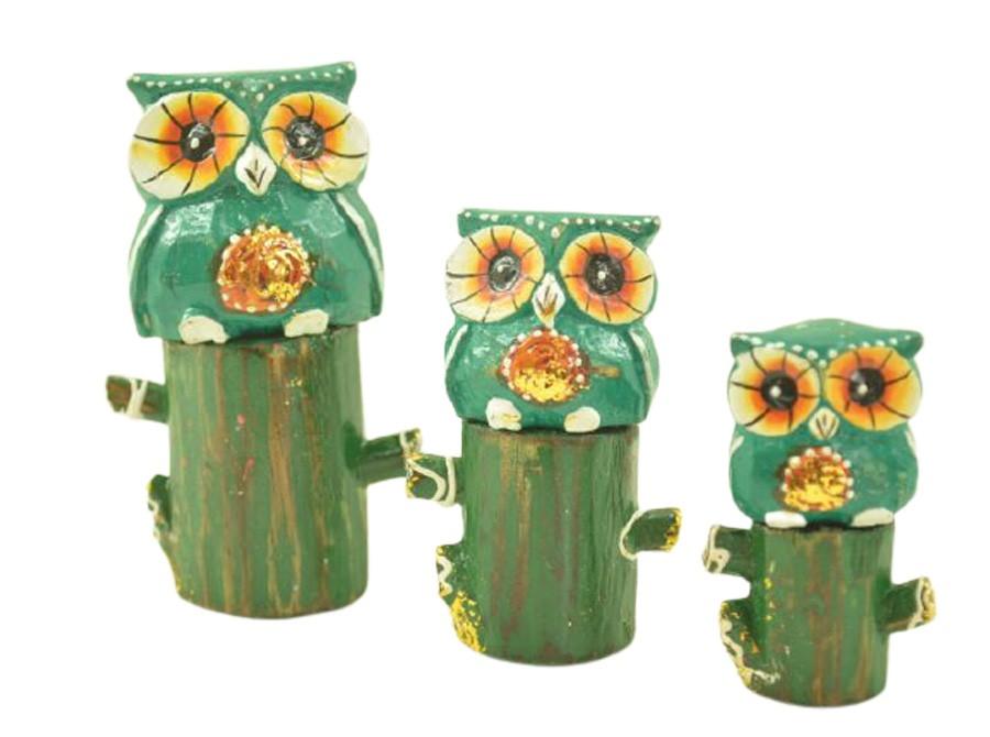 Escultura Enfeite Trio Corujas Vd No Tronco Madeira de Bali Imp  - Arrivo Mobile