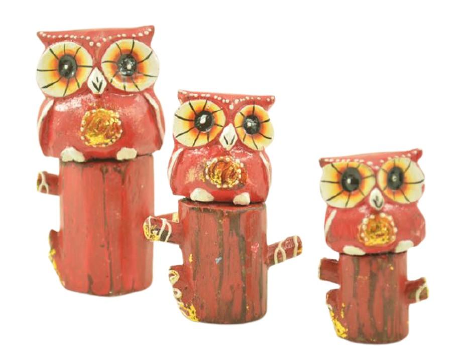 Escultura Enfeite Trio Corujas Vm No Tronco Madeira de Bali Imp  - Arrivo Mobile