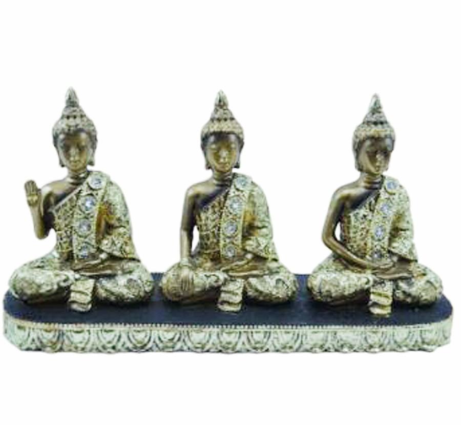 Escultura Enfeite Trio De Buda Tibetano Dourado Importado  - Arrivo Mobile