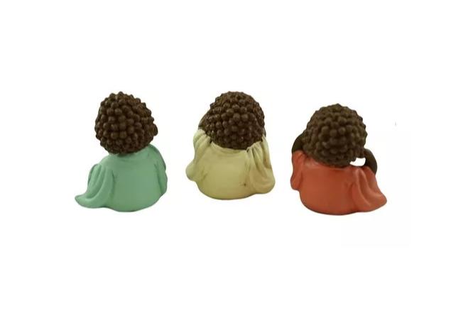 Escultura Enfeite Trio De Budas Bebês Não Vejo, Não Ouço, Não Falo  - Arrivo Mobile