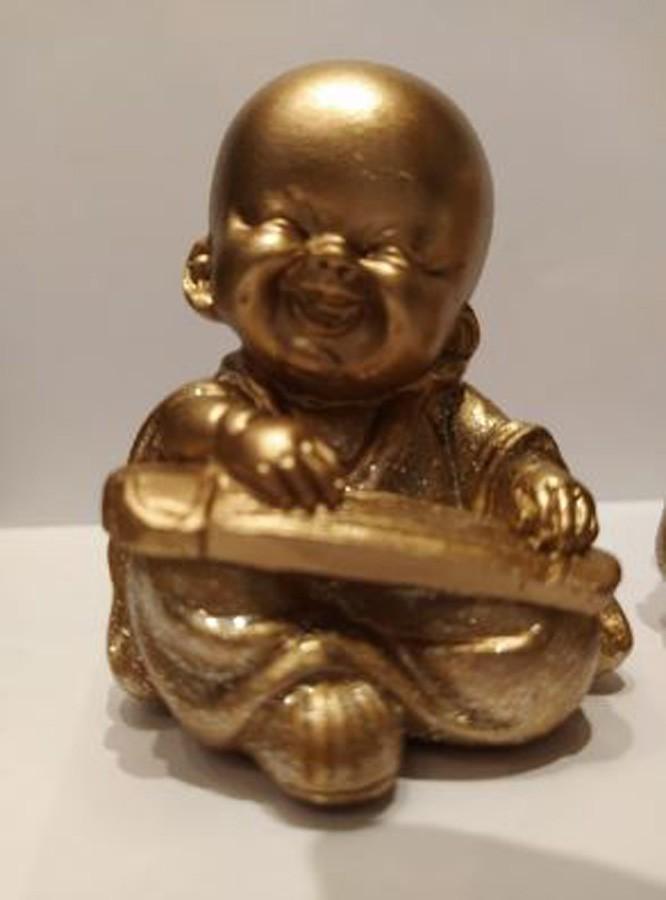 Escultura Enfeite Trio De Budas Dourado  - Arrivo Mobile