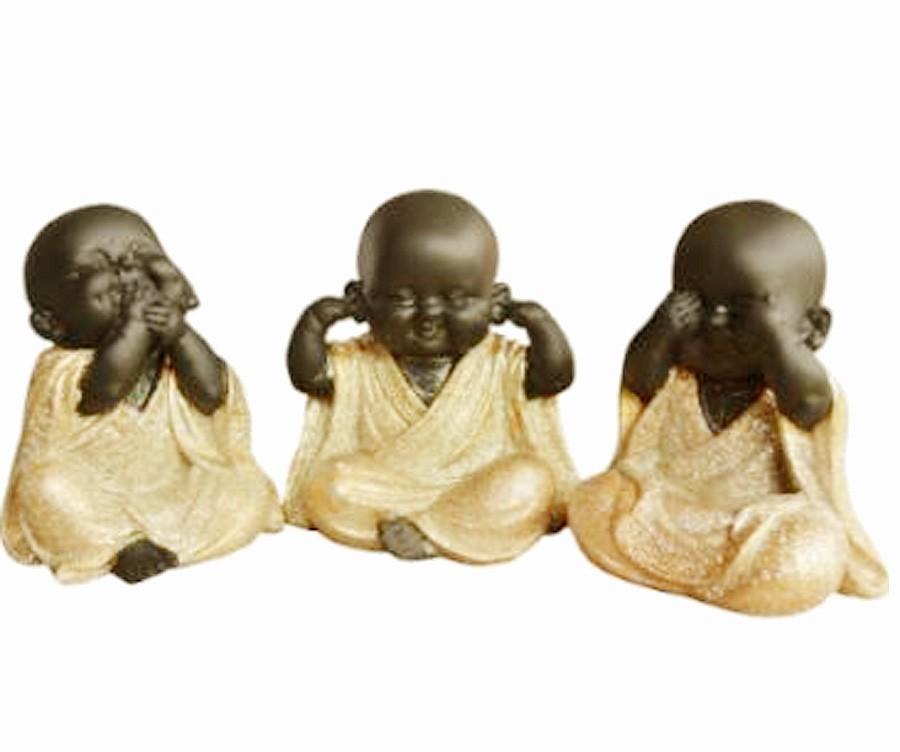 Escultura Enfeite Trio De Budas Não Vejo, Não Ouço, Não Falo Importado  - Arrivo Mobile