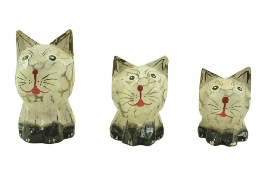 Escultura Enfeite Trio De Gatos Mod A Madeira de Bali Imp  - Arrivo Mobile
