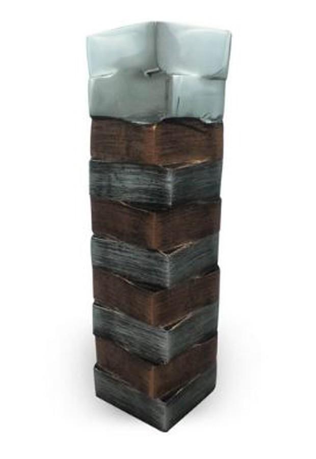Vaso Alumínio Bronze E Prata Quadrado 39x10cm  - Arrivo Mobile