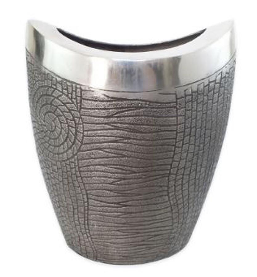 Vaso Alumínio Concavo Black Copper 24x15x29cm  - Arrivo Mobile