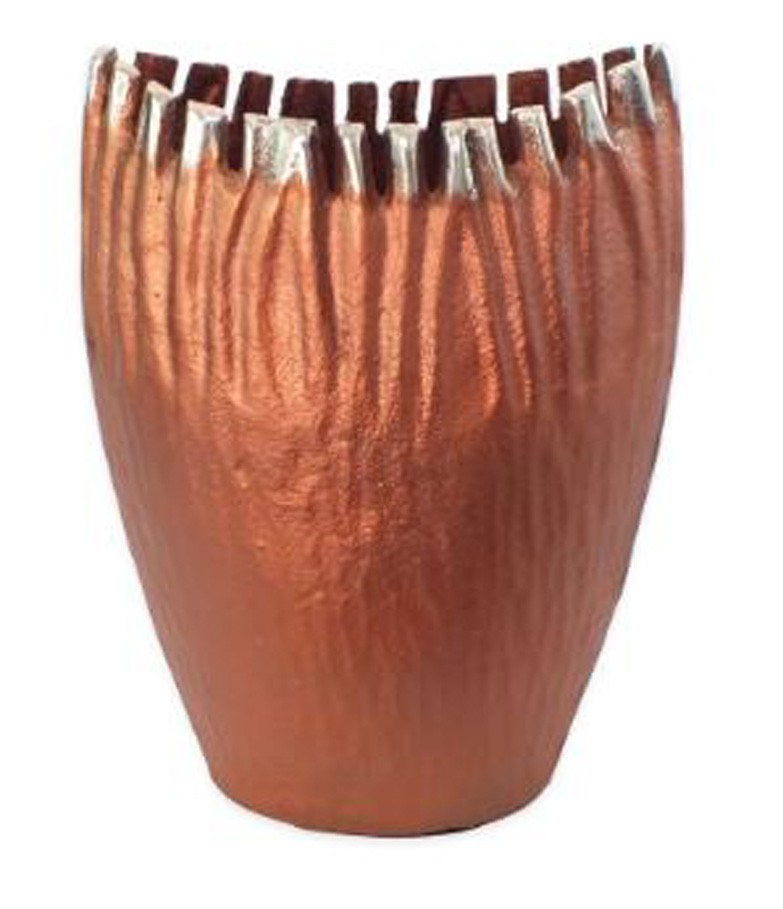 Vaso Alumínio Vinco Cobre Envelhecido 17x10x25  - Arrivo Mobile