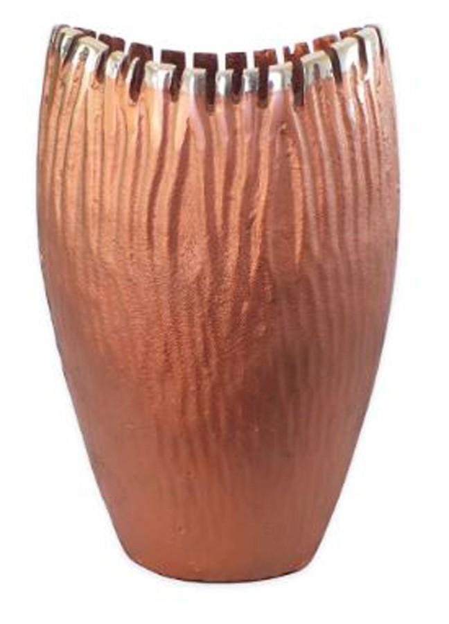 Vaso Alumínio Vinco Cobre Envelhecido 20x13x33  - Arrivo Mobile