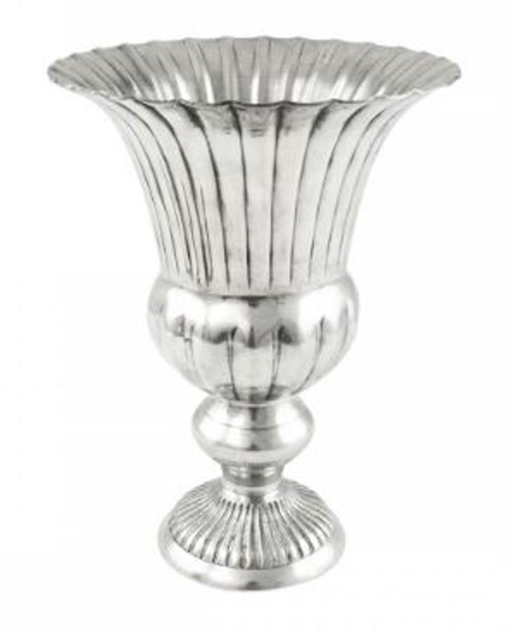 Vaso de Alumínio Prata Brilhante Frisos 20x27  - Arrivo Mobile
