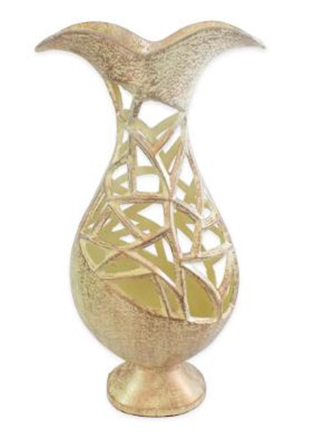 Vaso De Alumínio Prateado Sombreado 45x24x13cm  - Arrivo Mobile