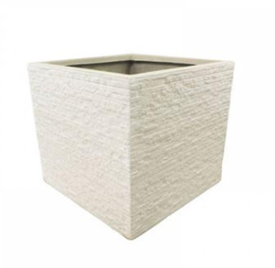 Vaso De Composto Mineral Branco Quadrado 22x24cm  - Arrivo Mobile