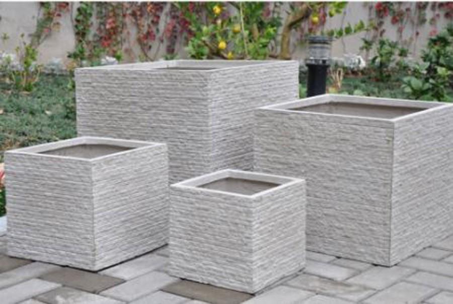 Vaso de Composto Mineral Branco Quadrado 50x45cm  - Arrivo Mobile