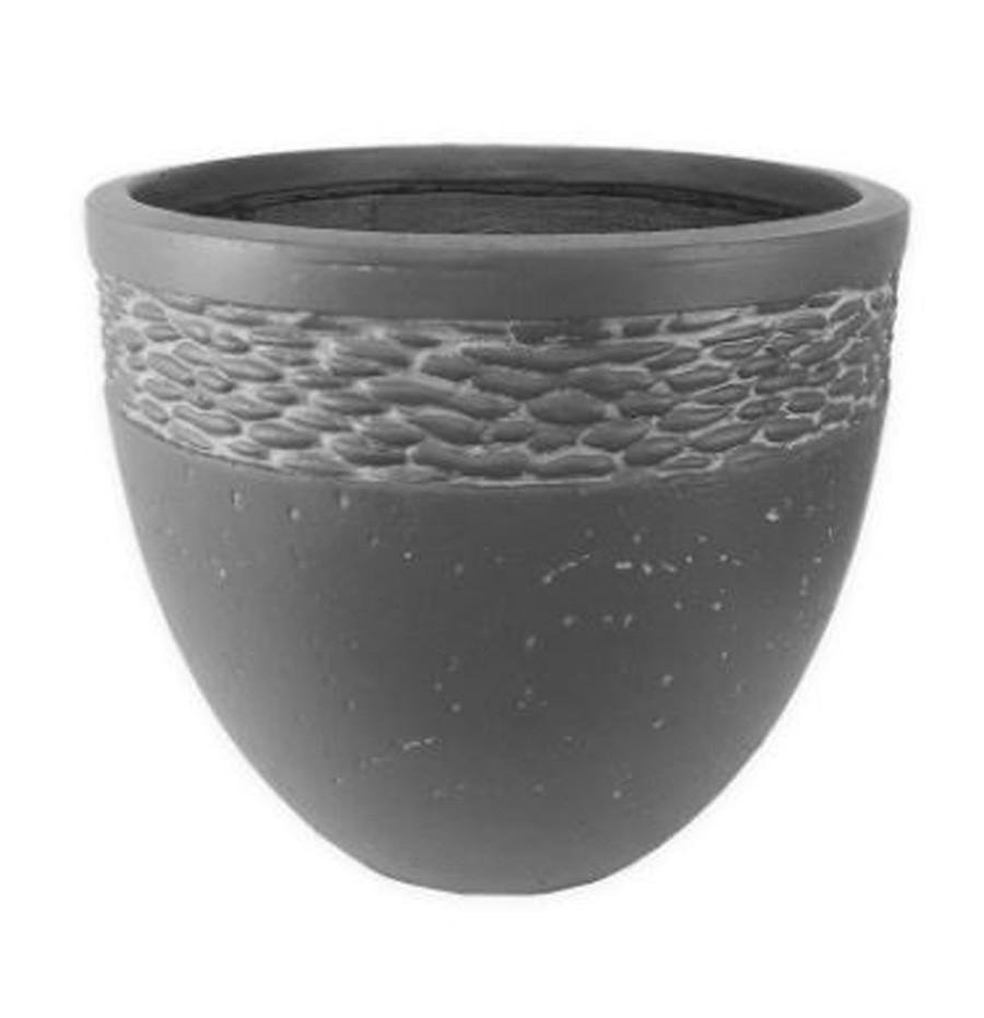 Vaso de Composto Mineral Cilíndrico Cinza 30x26cm  - Arrivo Mobile
