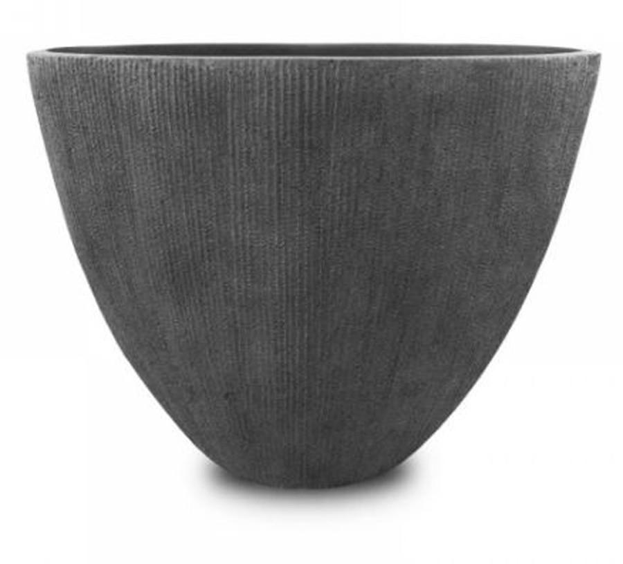 Vaso De Composto Mineral Cinza Oval 33x28x18cm  - Arrivo Mobile