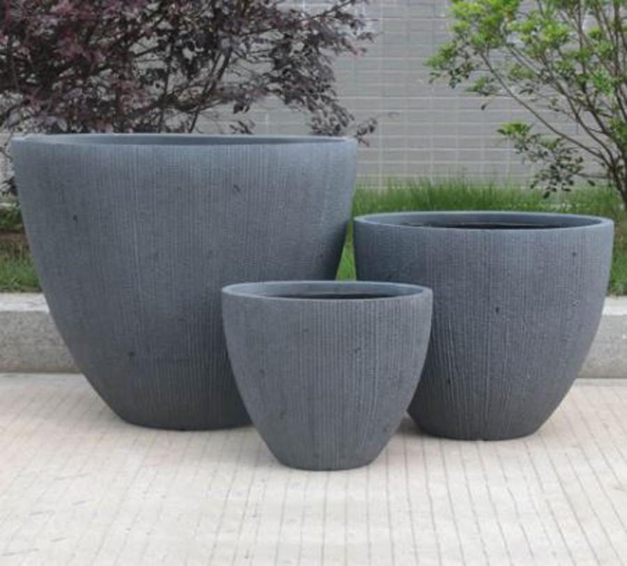 Vaso De Composto Mineral Cinza Oval 50x60x34cm  - Arrivo Mobile