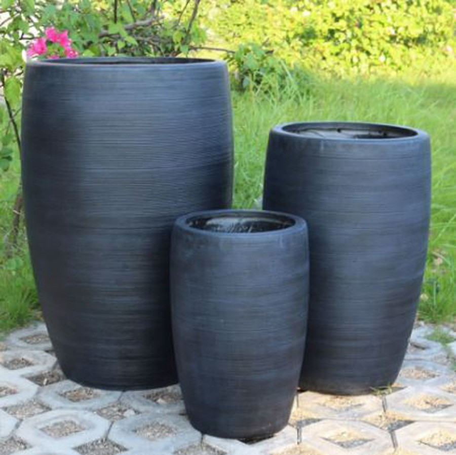 Vaso de Composto Mineral Grafite Cilíndrico 30x44cm  - Arrivo Mobile