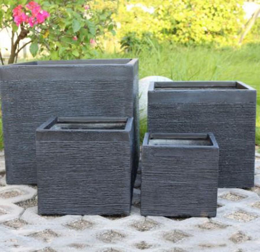 Vaso de Composto Mineral Grafite Quadrado 22x24cm  - Arrivo Mobile