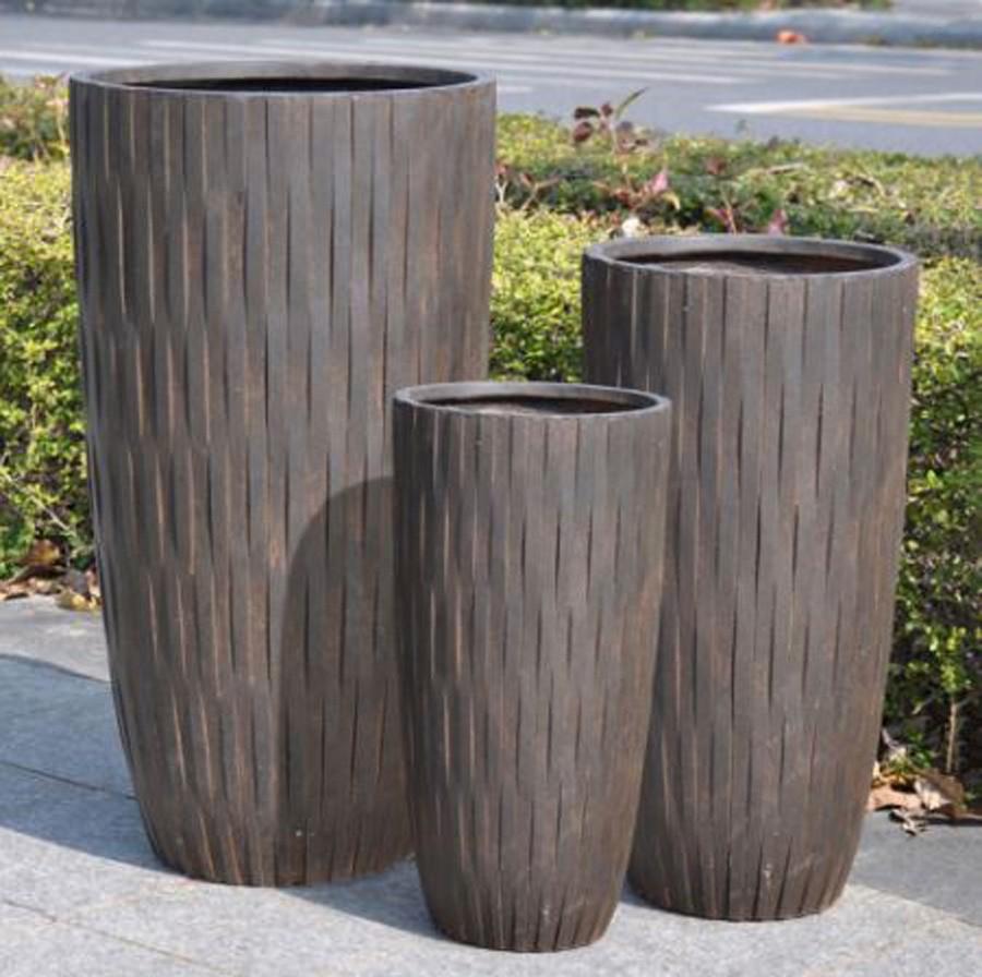 Vaso De Composto Mineral Marrom Cilíndrico 45x23cm  - Arrivo Mobile
