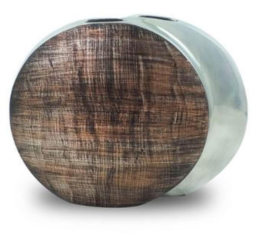 Vaso Decorativo Alumínio Prata Circulo 28x34x10cm  - Arrivo Mobile