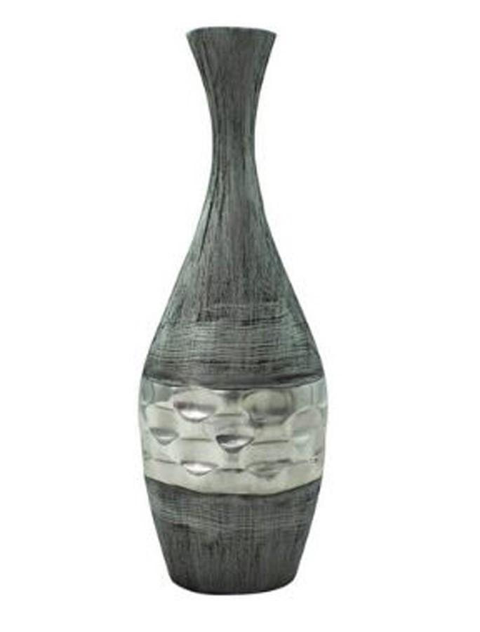 Vaso Decorativo Alumínio Prata Garrafa 64X17X9cm  - Arrivo Mobile