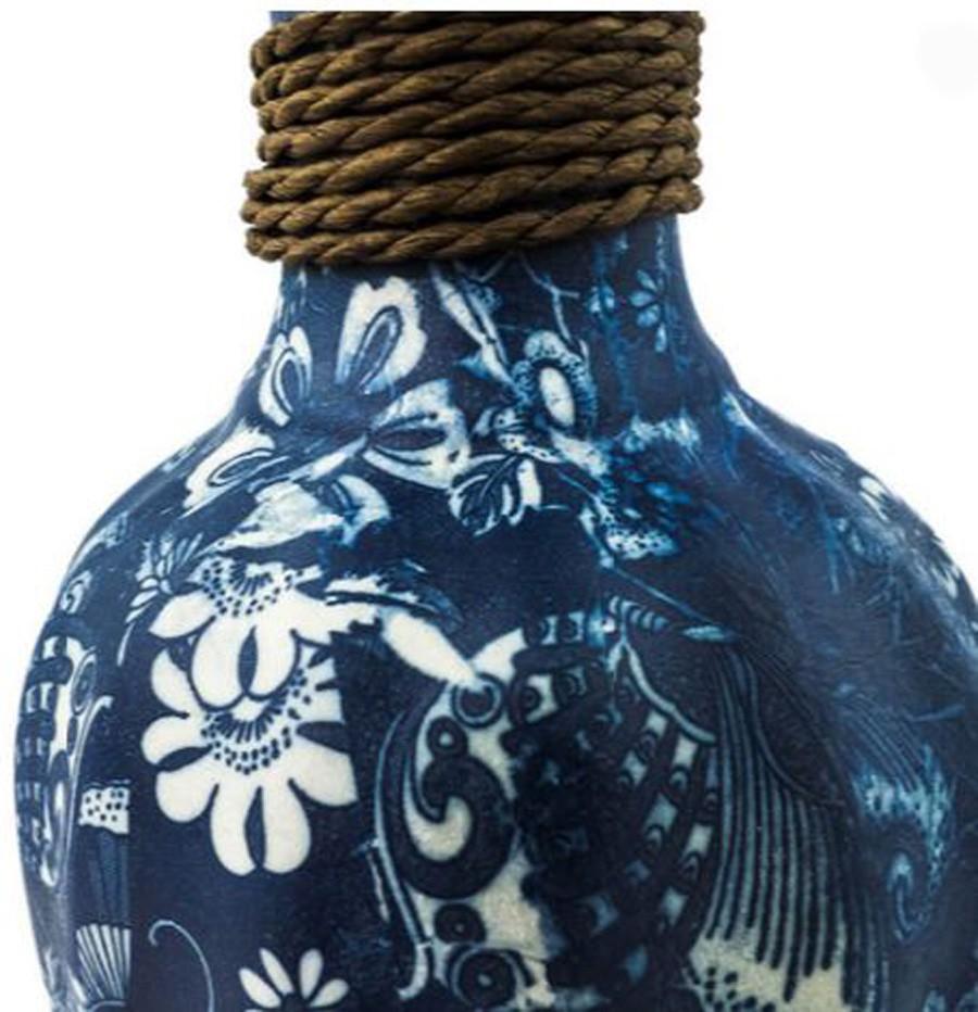 Vaso Decorativo Cerâmica Azul 20x17cm  - Arrivo Mobile