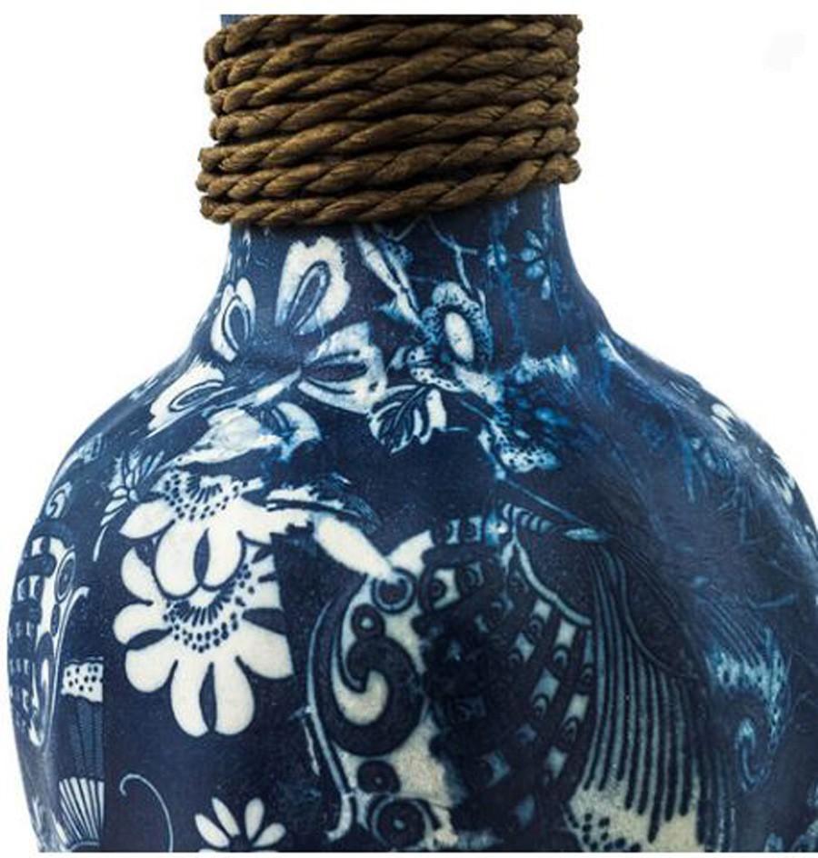 Vaso Decorativo Cerâmica Azul 33X16cm  - Arrivo Mobile