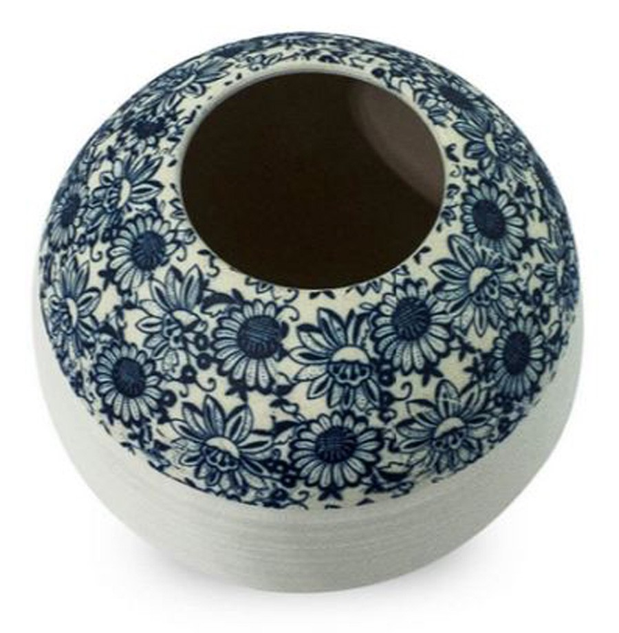 Vaso Decorativo Cerâmica Branco Floral 21x17cm  - Arrivo Mobile